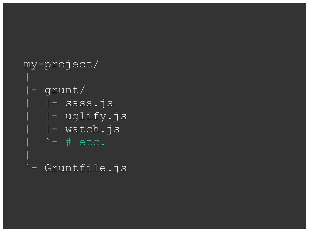 my-project/ | |- grunt/ | |- sass.js | |- uglif...