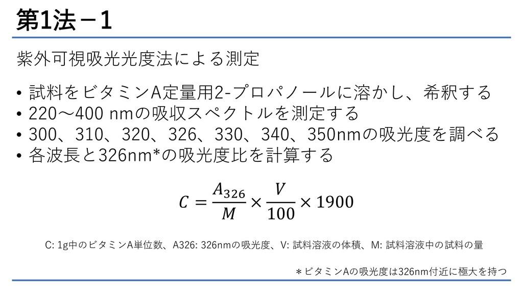 第1法-1 紫外可視吸光光度法による測定 • 試料をビタミンA定量用2-プロパノールに溶かし、...