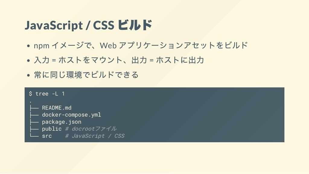 JavaScript / CSS ビルド npm イメージで、Web アプリケーションアセット...