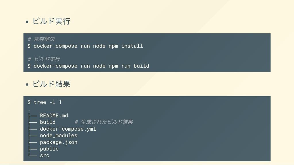 ビルド実行 # 依存解決 $ docker-compose run node npm inst...