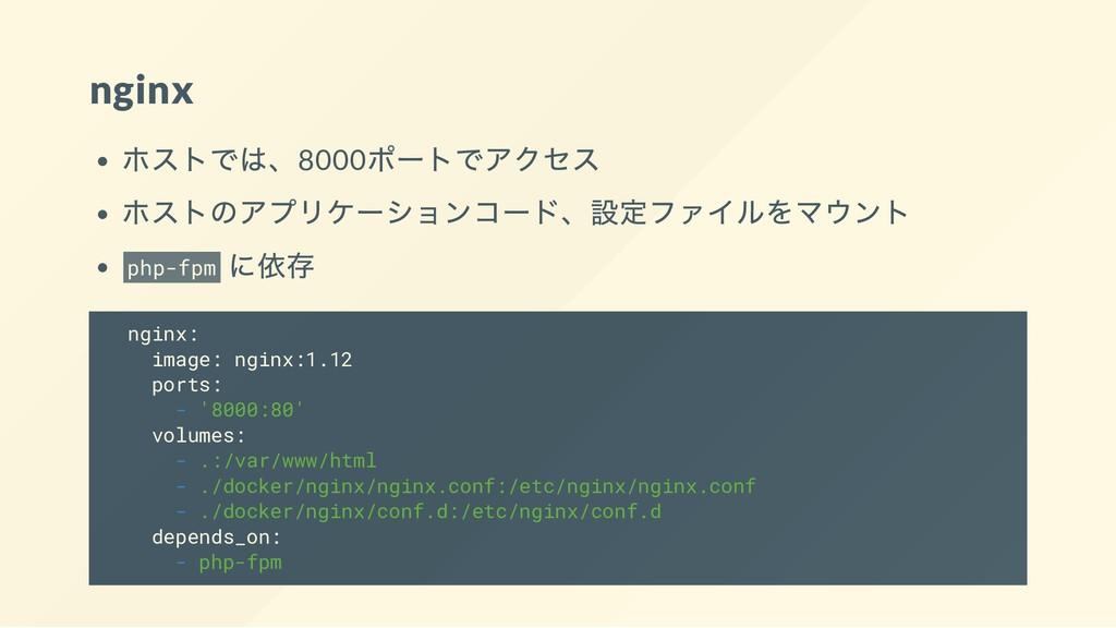 nginx ホストでは、8000 ポートでアクセス ホストのアプリケーションコード、設定ファイ...
