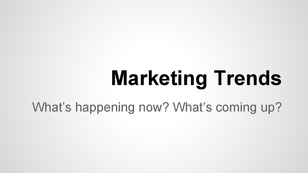What's happening now? What's coming up? Marketi...