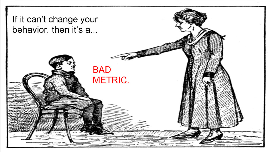 BAD METRIC. If it can't change your behavior, t...