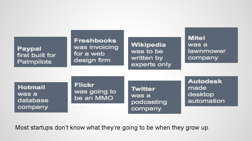 Most startups don't know what they're going to ...