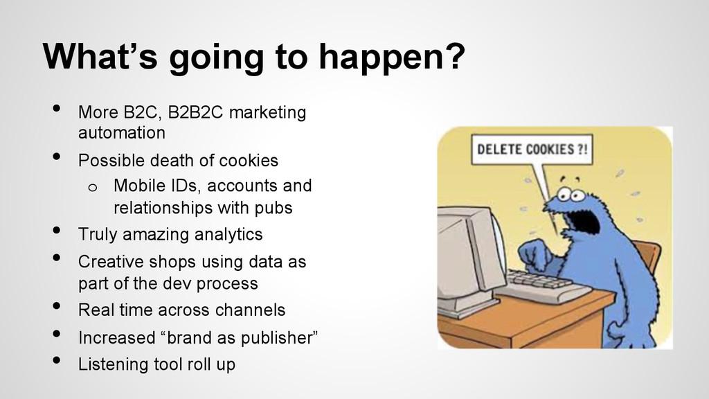 What's going to happen? • More B2C, B2B2C mark...