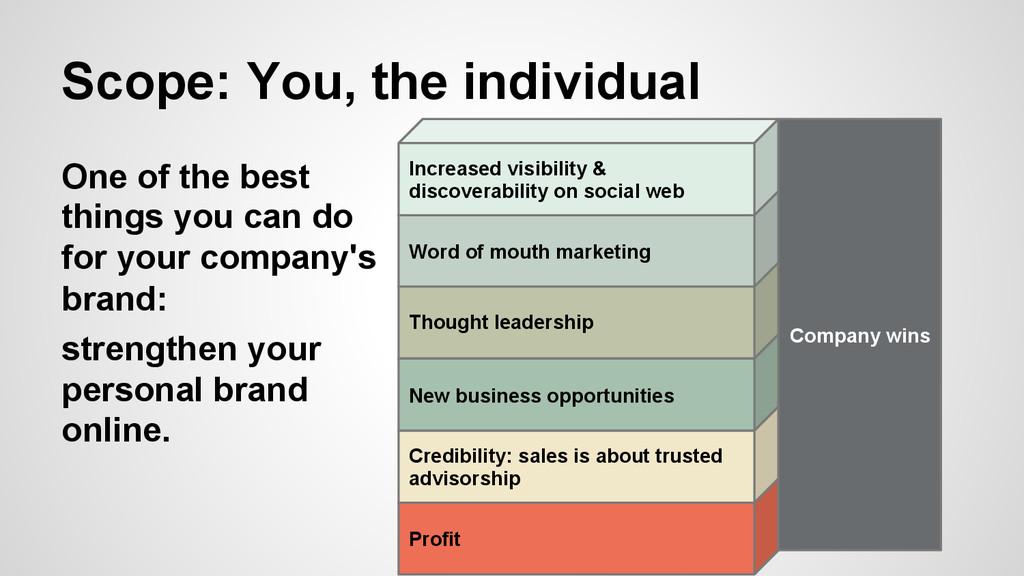 Scope: You, the individual Company wins Profit ...