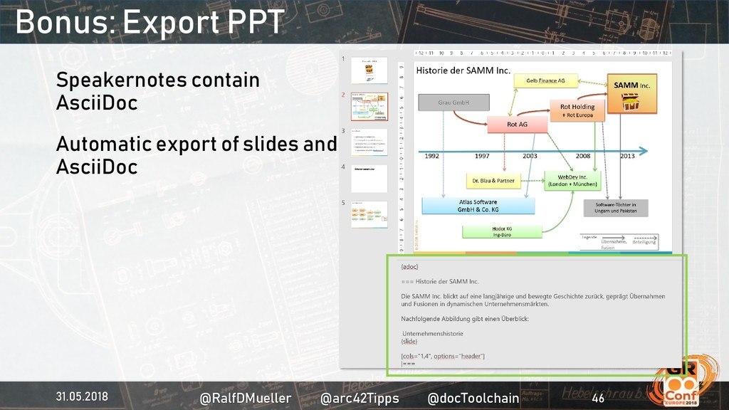 Bonus: Export PPT Speakernotes contain AsciiDoc...