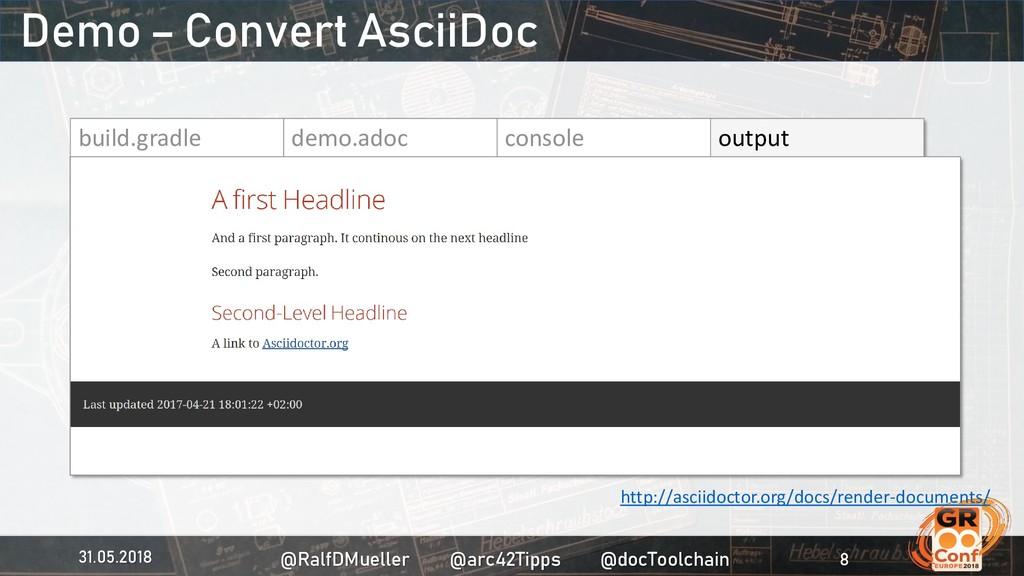 build.gradle demo.adoc console output Demo – Co...