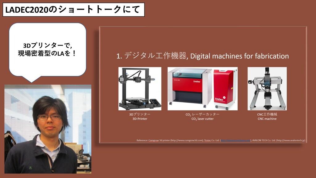 LADEC2020のショートトークにて 3Dプリンターで, 現場密着型のLAを!