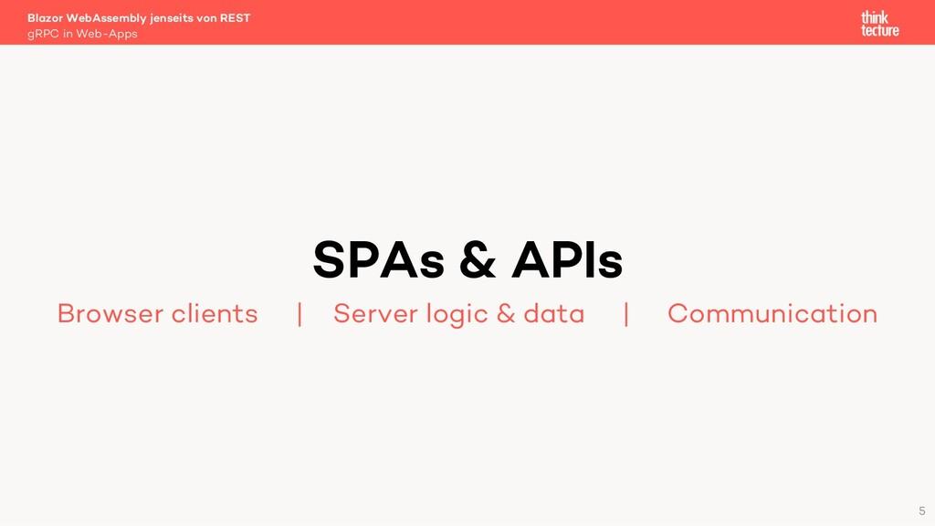5 SPAs & APIs Browser clients   Server logic & ...