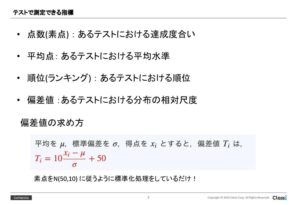 • 点数 素点 : あるテストにおける達成度合い • 平均点: あるテストにおける平均水準 •...
