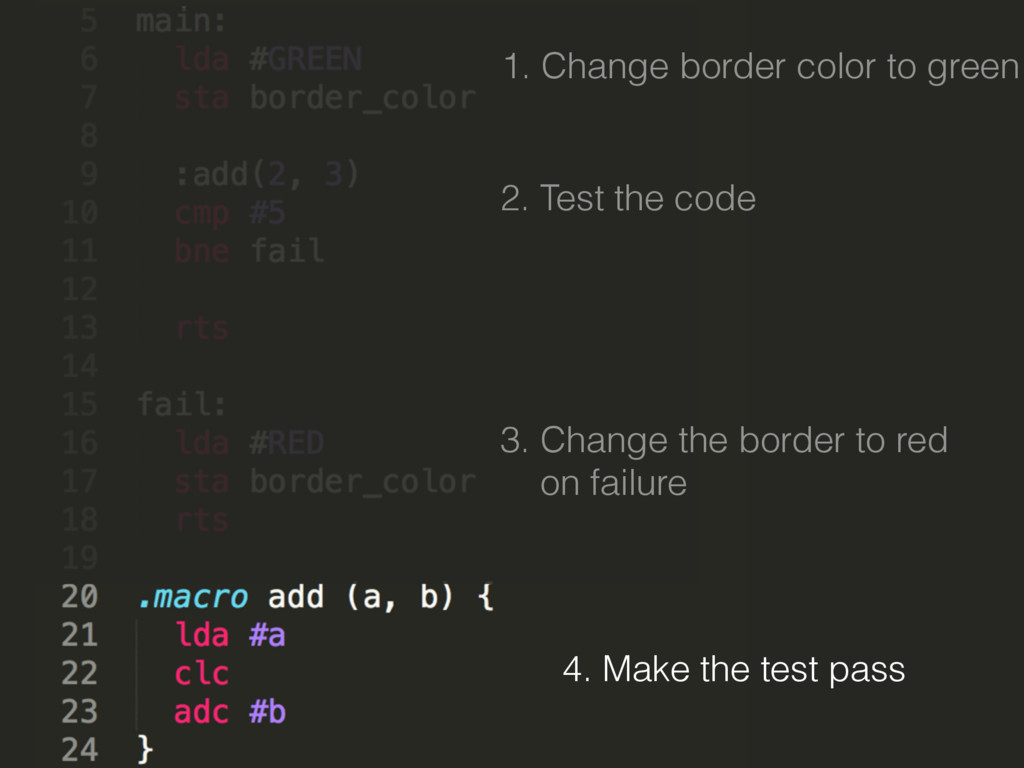 4. Make the test pass 1. Change border color to...