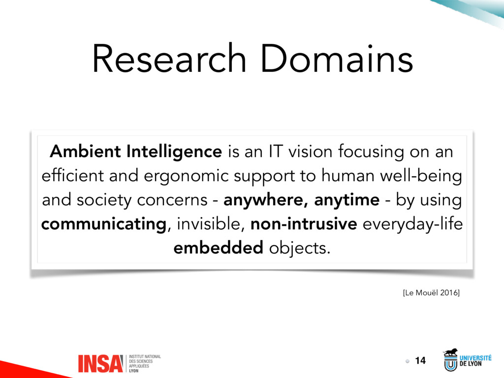 Research Domains Ambient Intelligence is an IT ...