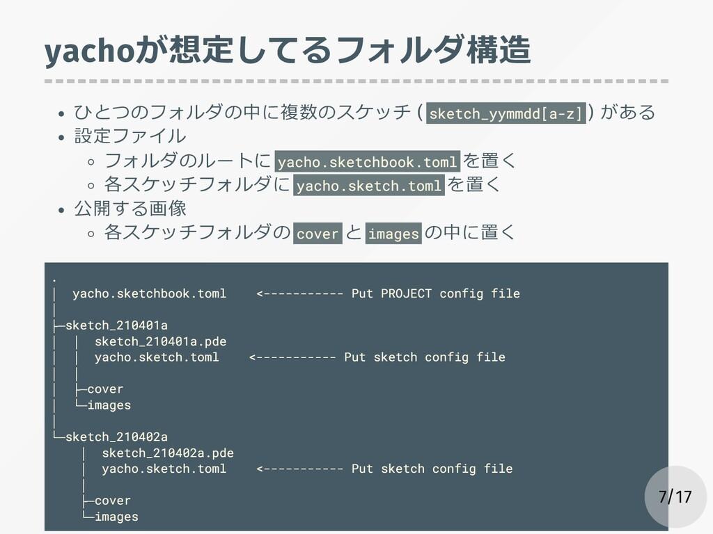 yachoが想定してるフォルダ構造 ひとつのフォルダの中に複数のスケッチ ( sketch_y...