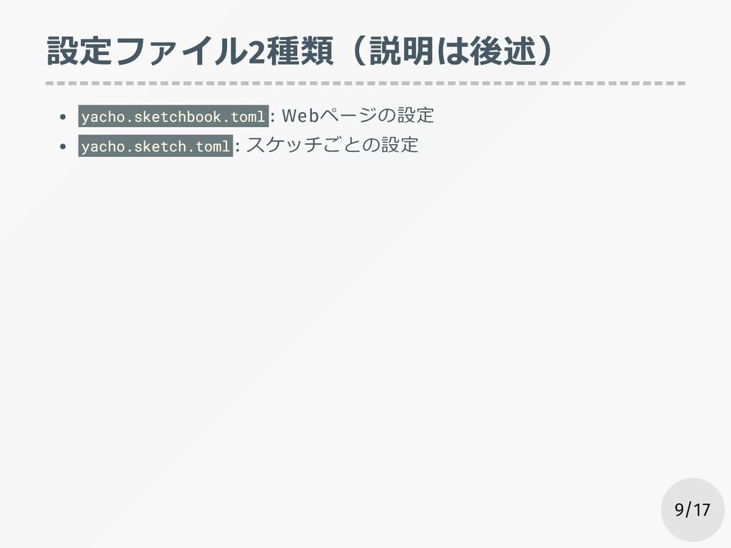 設定ファイル2種類(説明は後述) yacho.sketchbook.toml : Webページ...