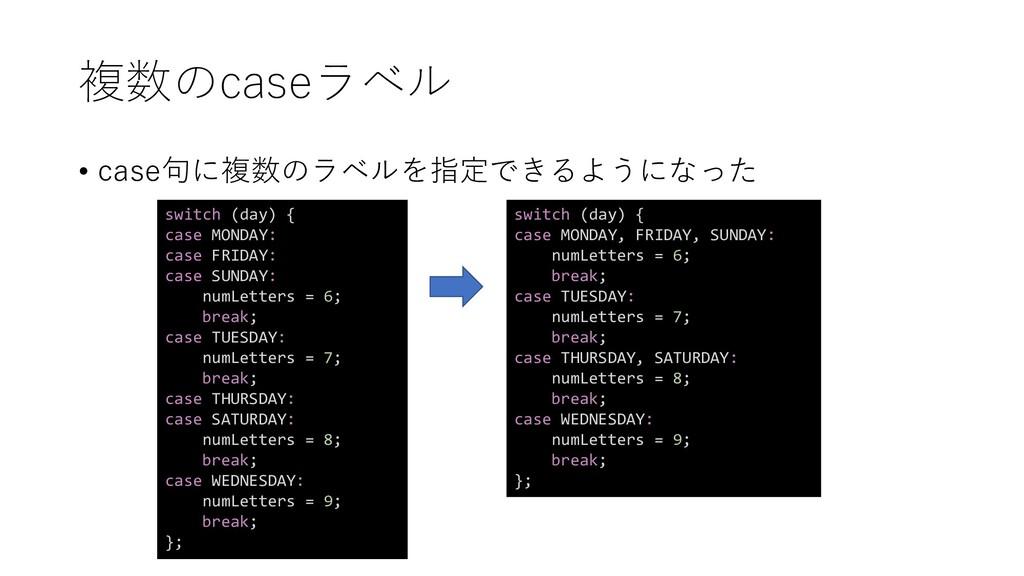 複数のcaseラベル • case句に複数のラベルを指定できるようになった switch (d...