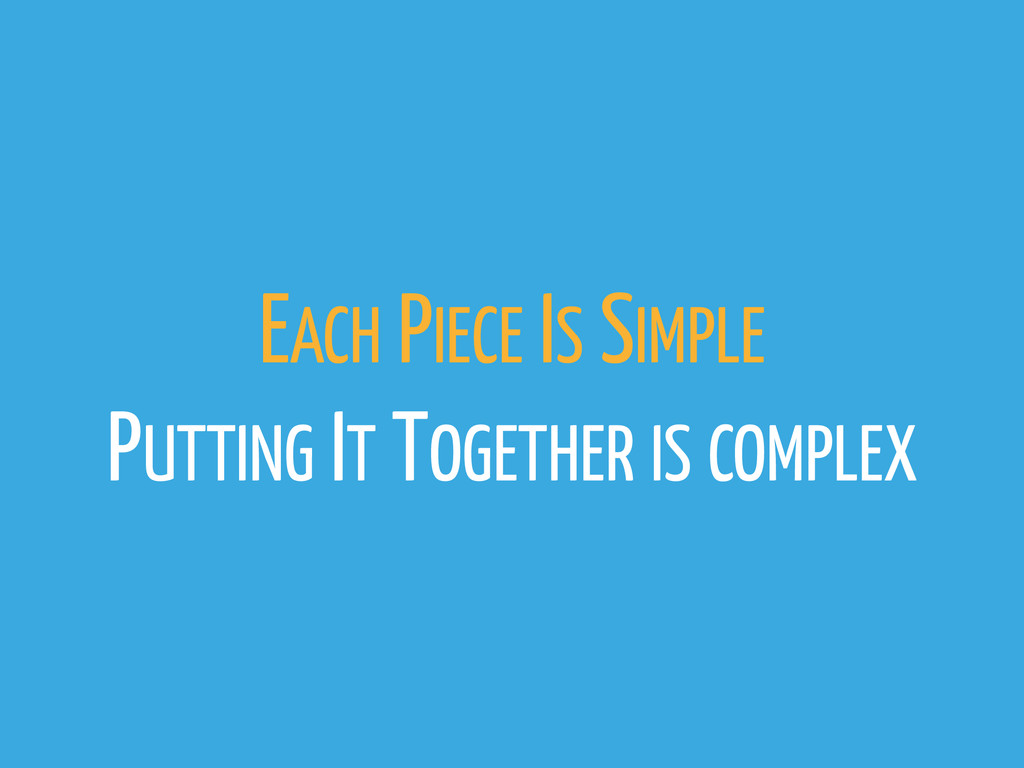 EACH PIECE IS SIMPLE PUTTING IT TOGETHER IS COM...