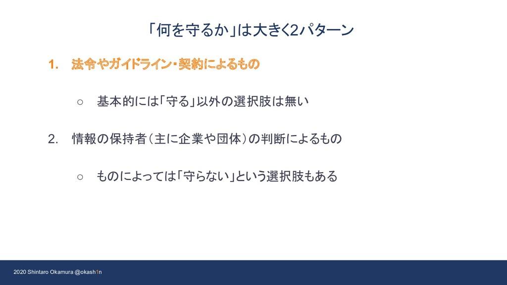 2020 Shintaro Okamura @okash1n 「何を守るか」は大きく2パターン...