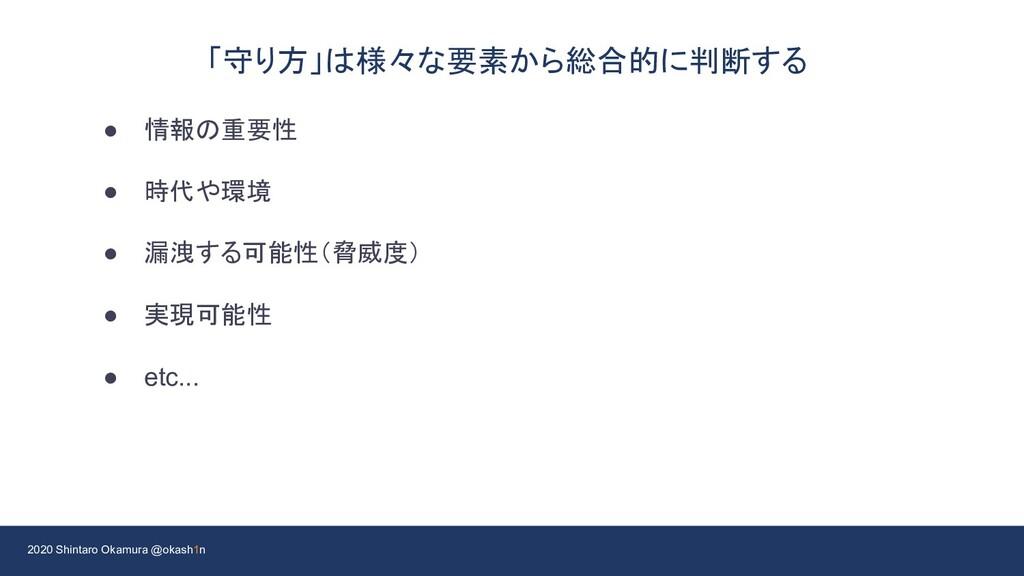 2020 Shintaro Okamura @okash1n 「守り方」は様々な要素から総合的...