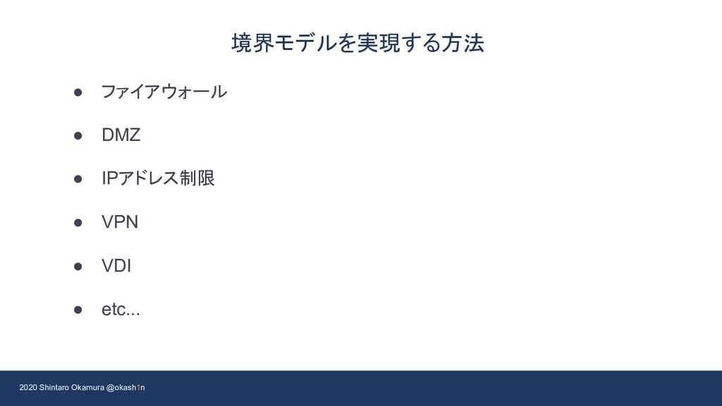 2020 Shintaro Okamura @okash1n 境界モデルを実現する方法 ● フ...
