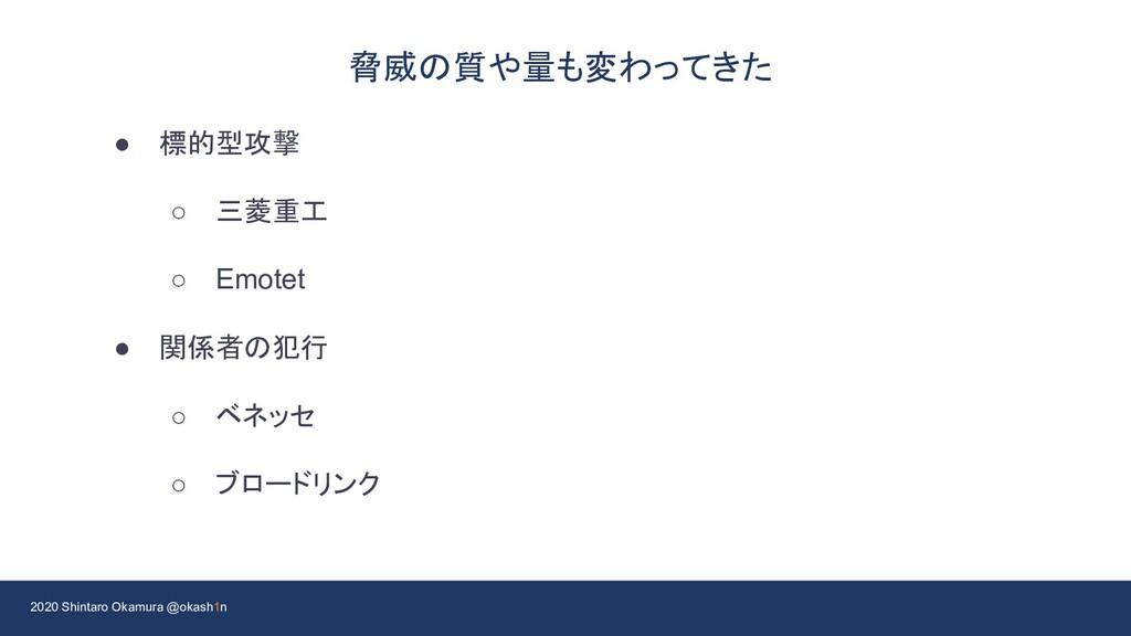 2020 Shintaro Okamura @okash1n 脅威の質や量も変わってきた ● ...