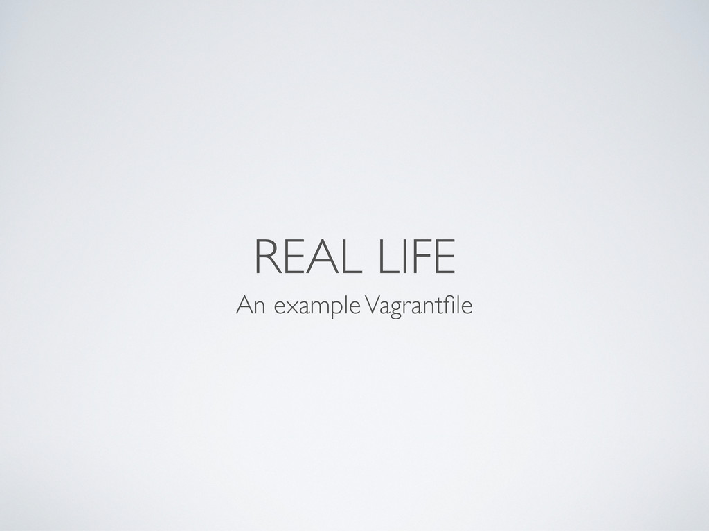 REAL LIFE An example Vagrantfile