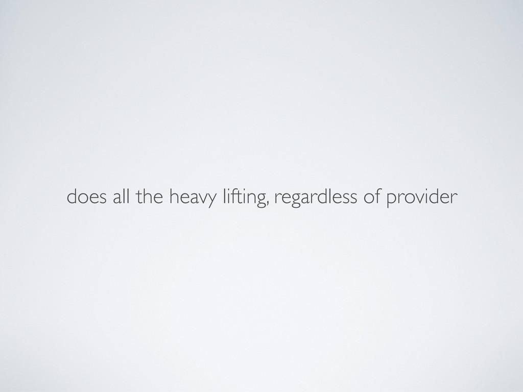 does all the heavy lifting, regardless of provi...