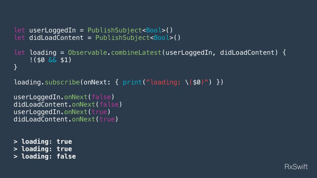 let userLoggedIn = PublishSubject<Bool>() let d...
