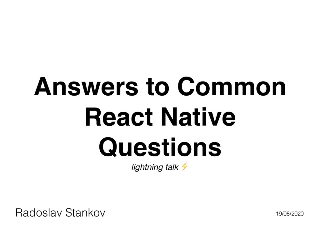 Answers to Common React Native Questions lightn...