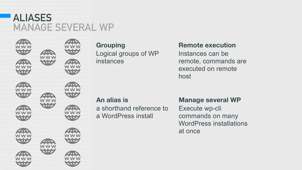 ALIASES MANAGE SEVERAL WP Grouping Logical gro...