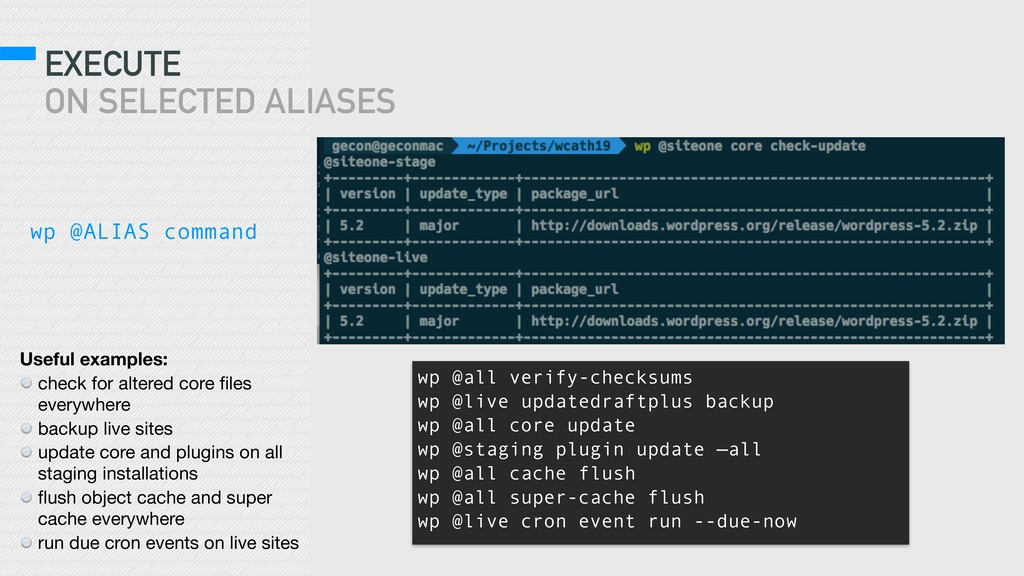 EXECUTE ON SELECTED ALIASES wp @ALIAS command ...