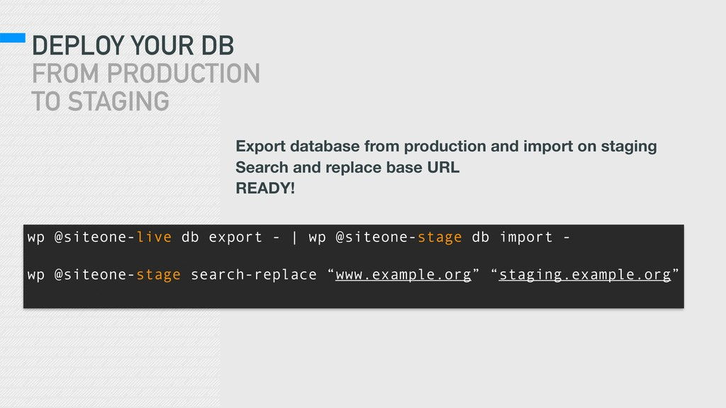 DEPLOY YOUR DB FROM PRODUCTION TO STAGING wp @...