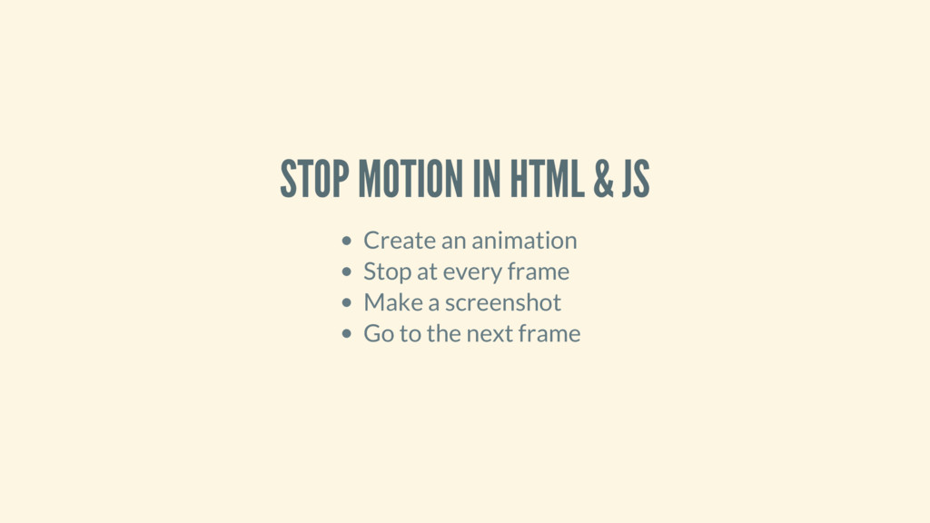 STOP MOTION IN HTML & JS Create an animation St...