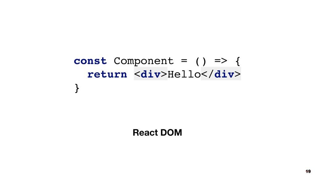React DOM const Component = () => { return <div...