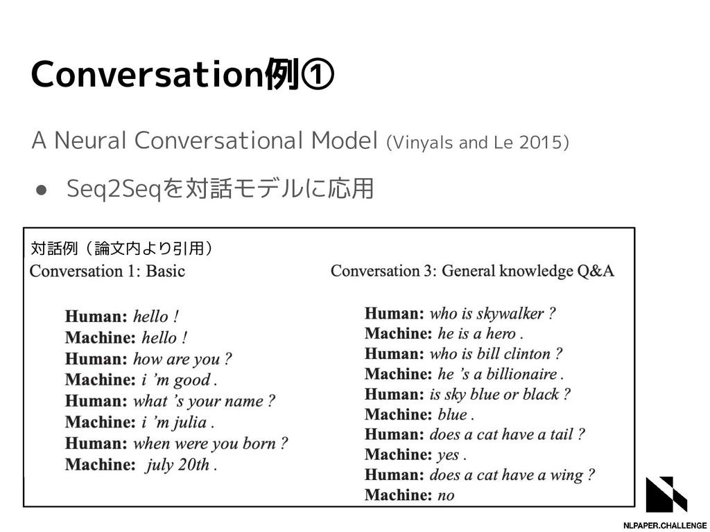 Conversation例① A Neural Conversational Model (V...