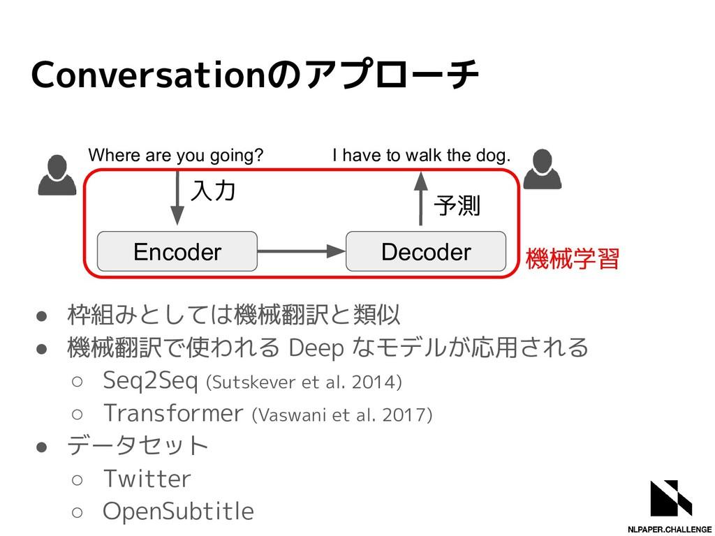 Conversationのアプローチ ● 枠組みとしては機械翻訳と類似 ● 機械翻訳で使われる...
