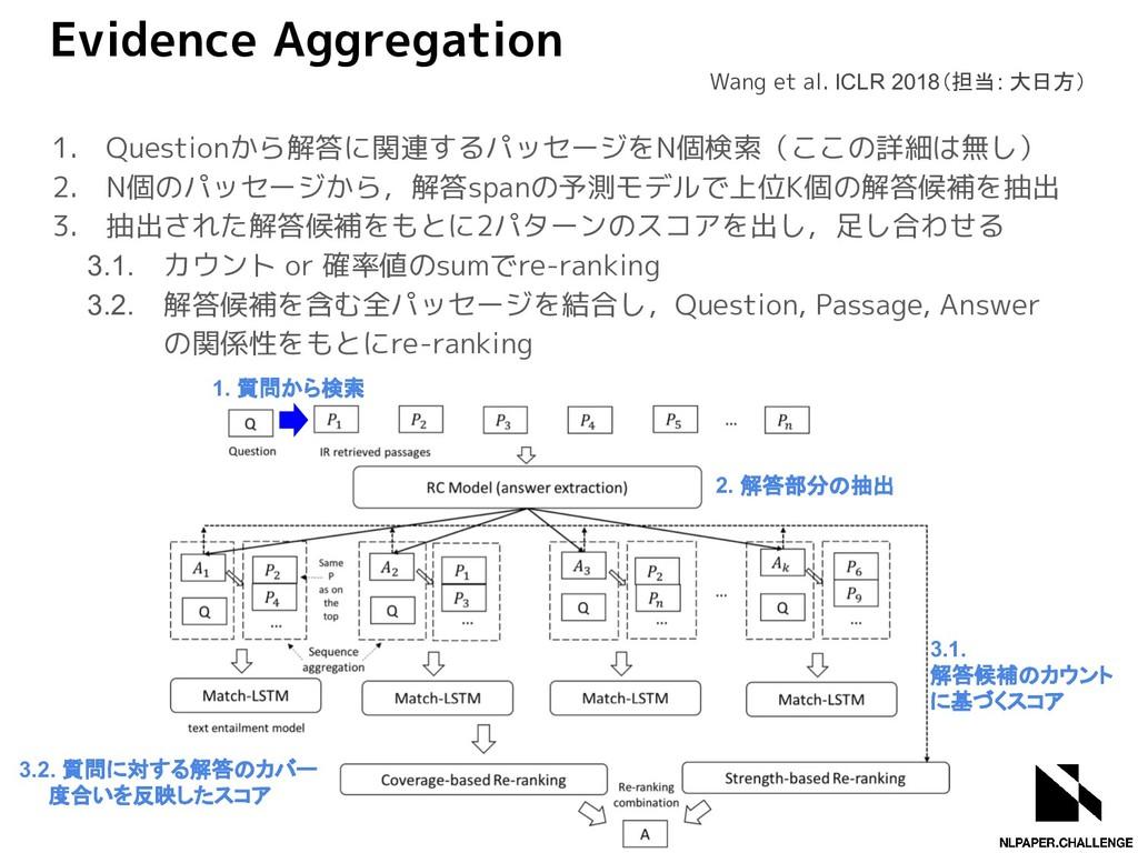 Evidence Aggregation 1. Questionから解答に関連するパッセージを...