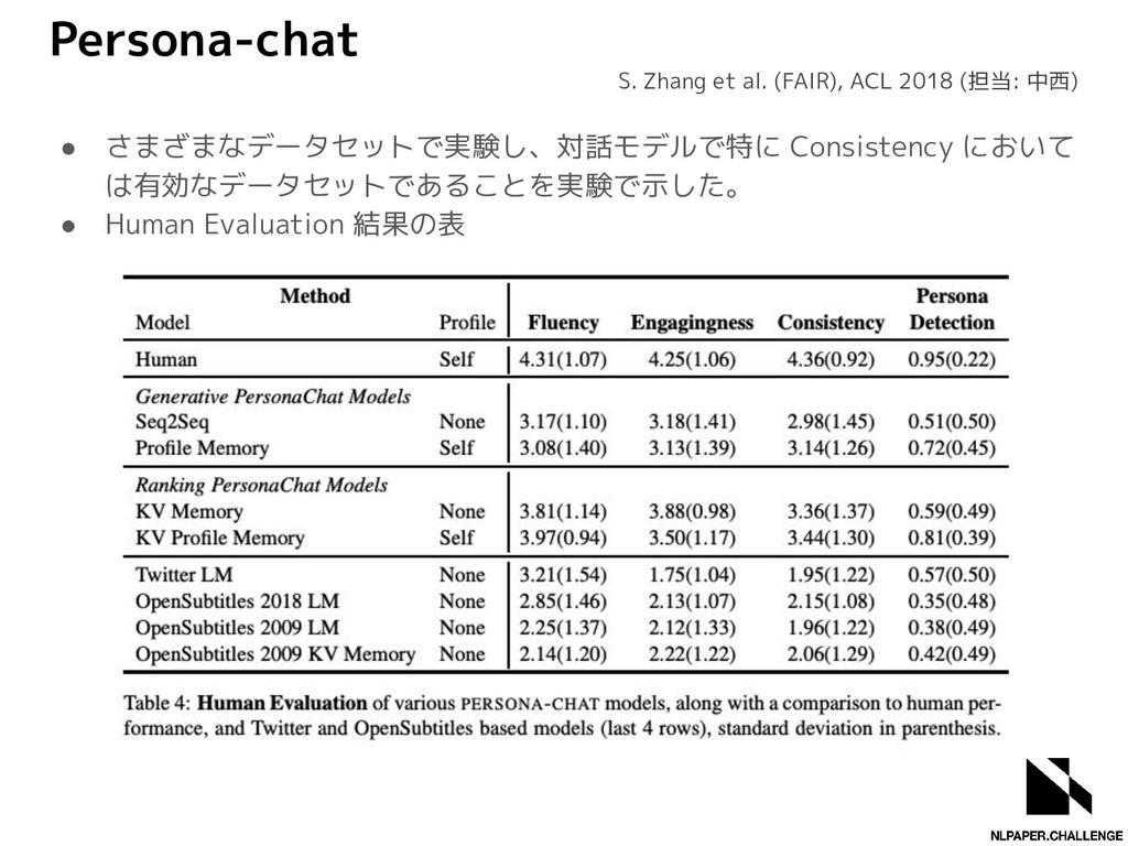 Persona-chat ● さまざまなデータセットで実験し、対話モデルで特に Consist...