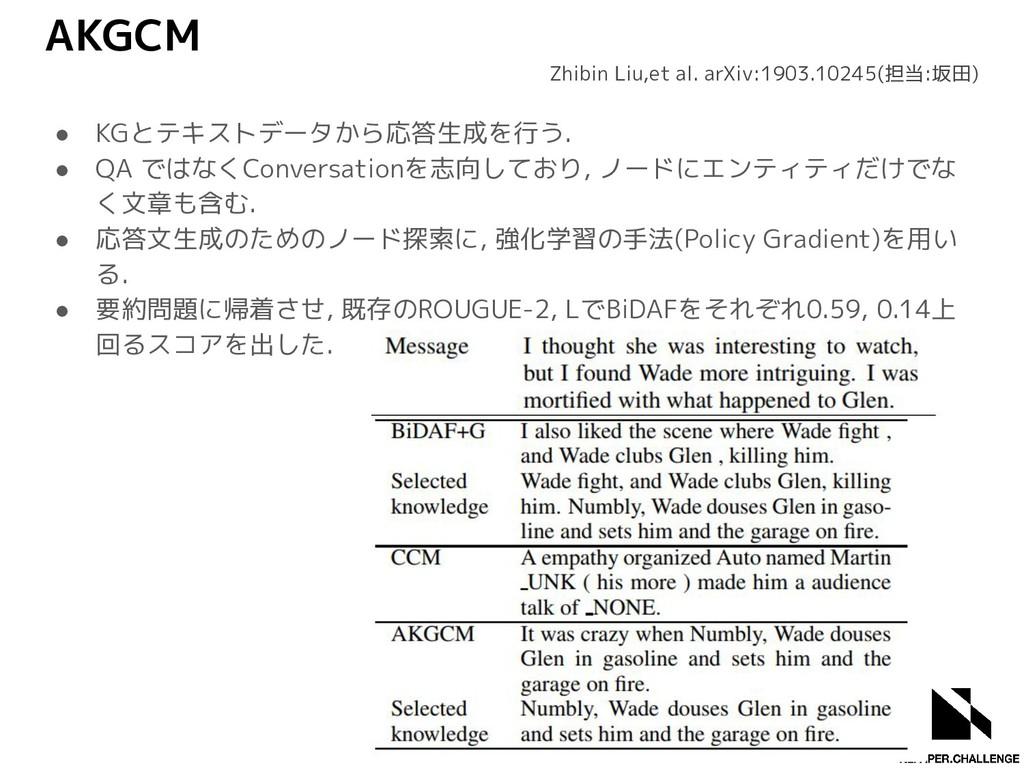 AKGCM ● KGとテキストデータから応答生成を行う. ● QA ではなくConversat...
