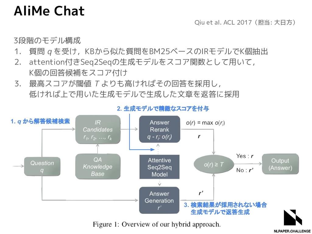 AliMe Chat 3段階のモデル構成 1. 質問 q を受け,KBから似た質問をBM25ベ...
