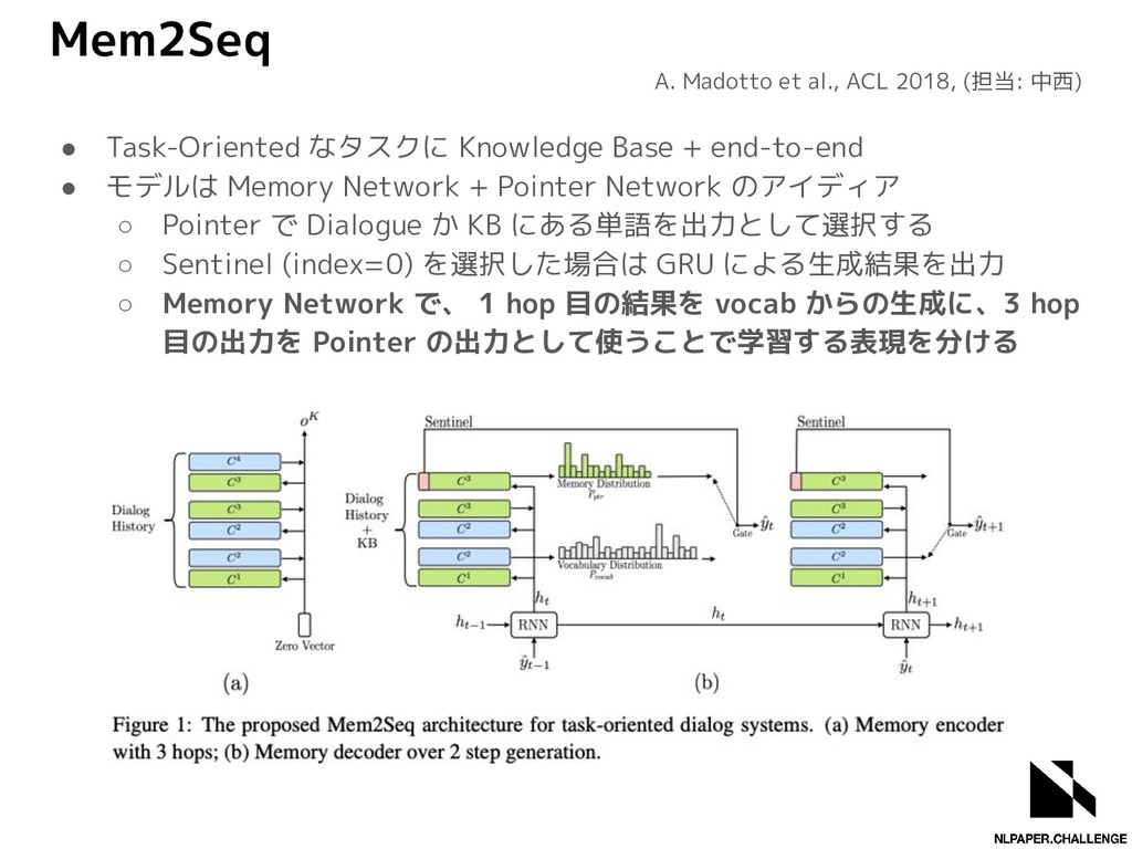 Mem2Seq ● Task-Oriented なタスクに Knowledge Base + ...