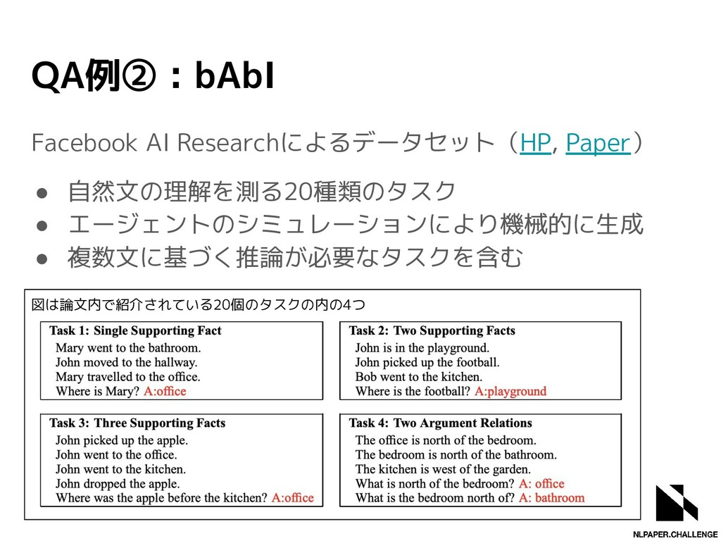 QA例② : bAbI Facebook AI Researchによるデータセット(HP, P...