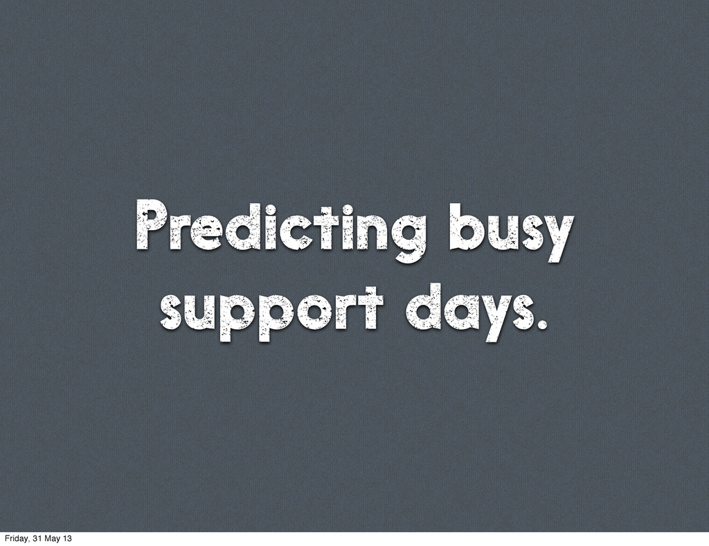 Predicting busy support days. Friday, 31 May 13