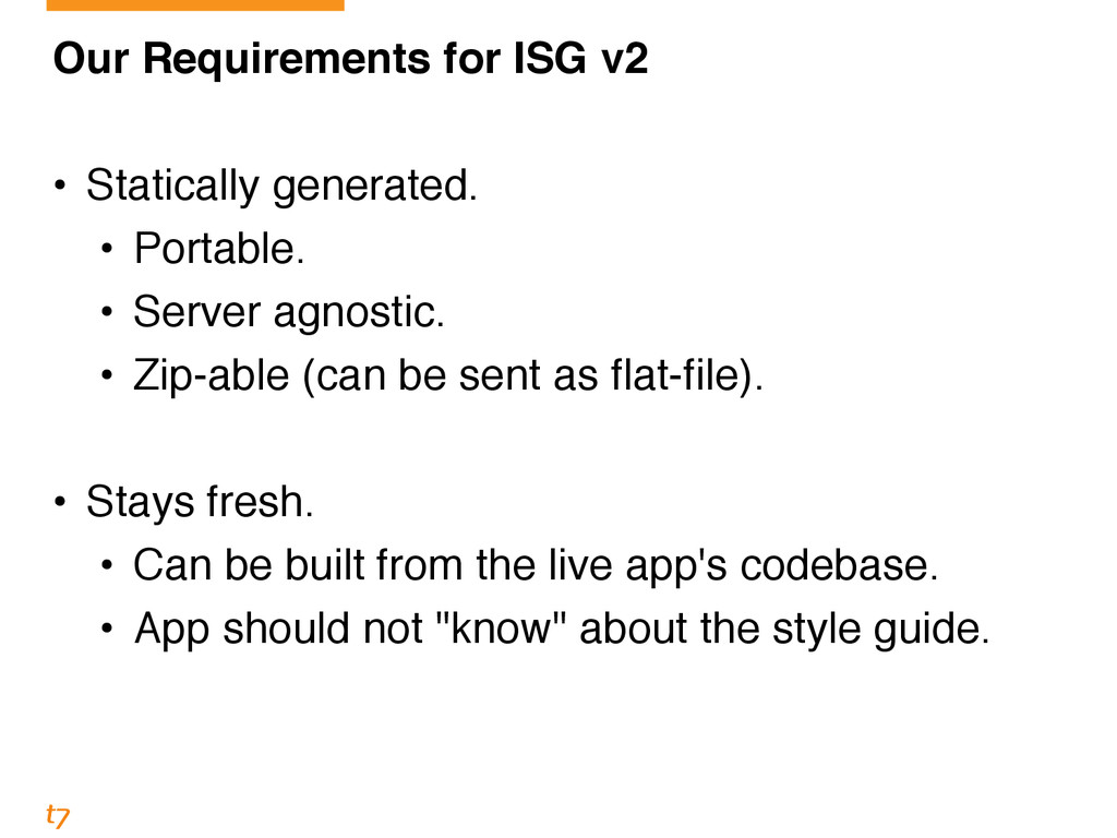 Our Requirements for ISG v2! ! • Statically gen...