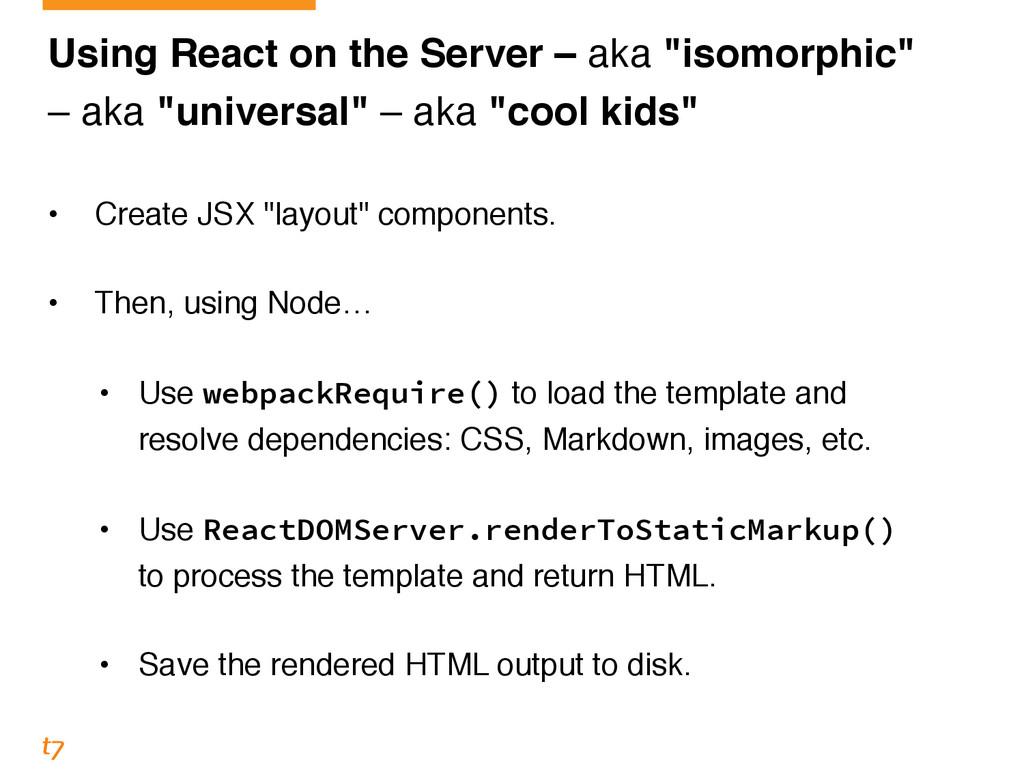 "Using React on the Server – aka ""isomorphic""! –..."
