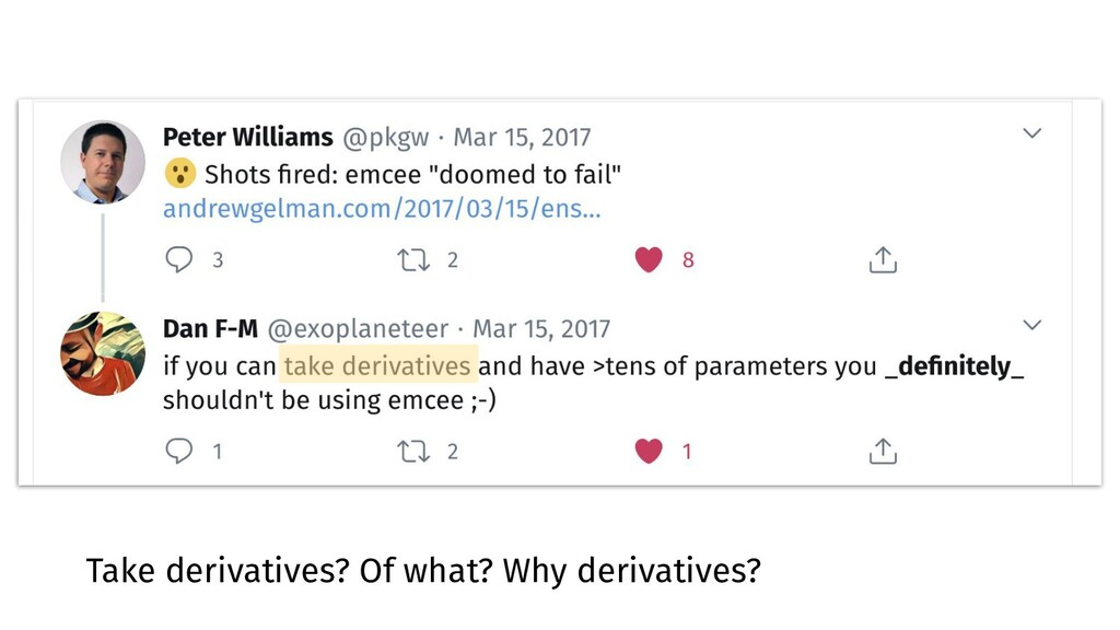 Take derivatives? Of what? Why derivatives?