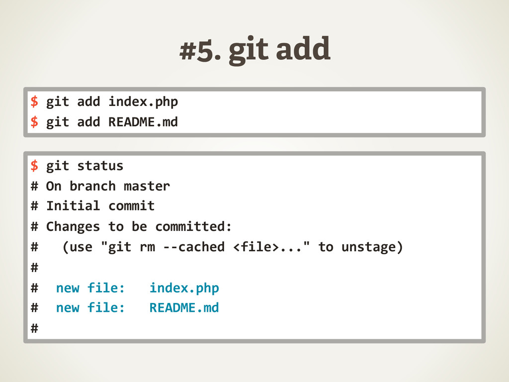 #5. git add $	