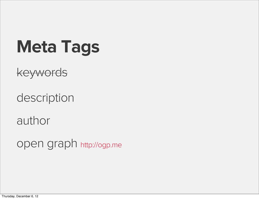 Meta Tags keywords description author open grap...