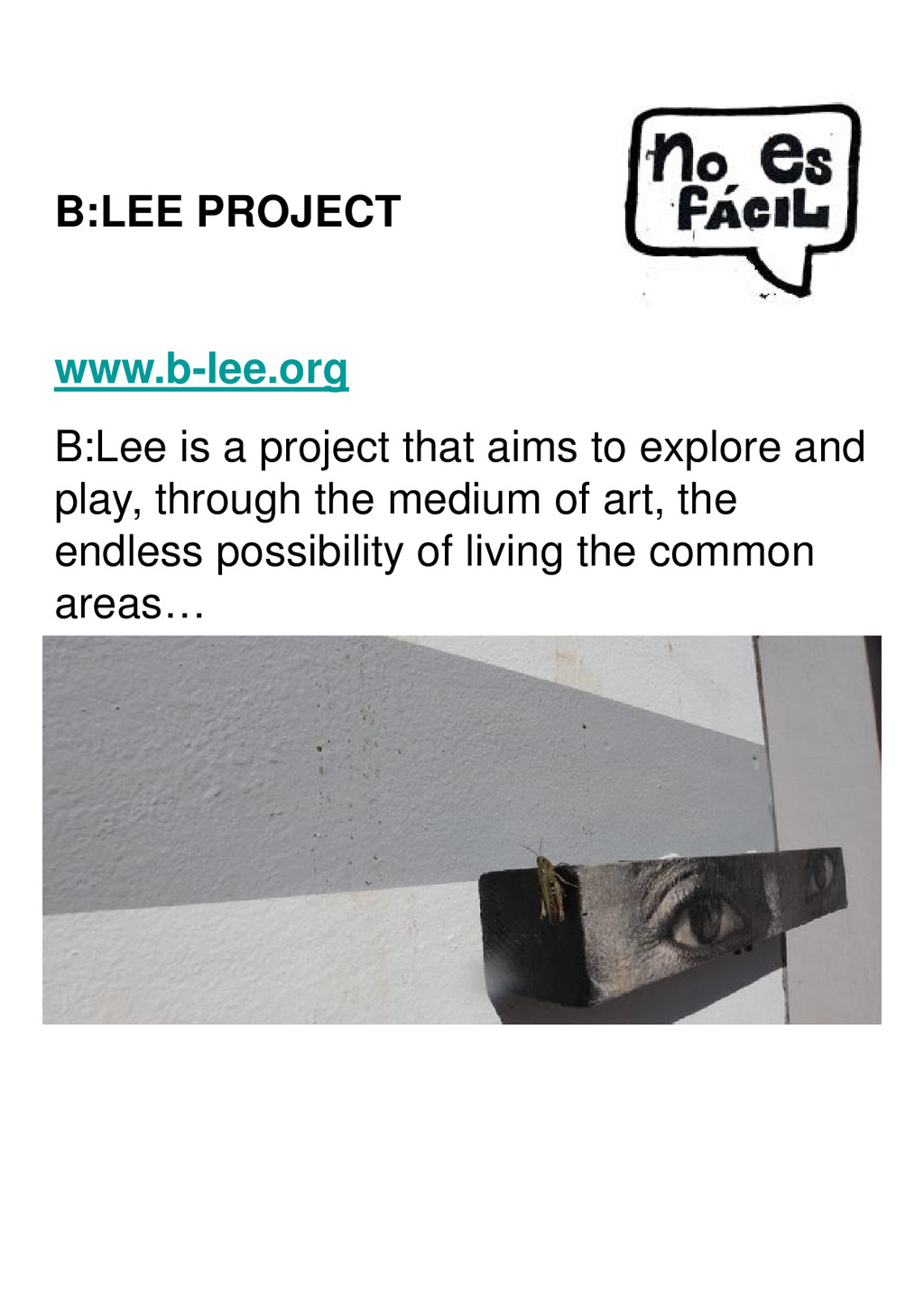 B:LEE PROJECT www.b-lee.org B:Lee is a project ...