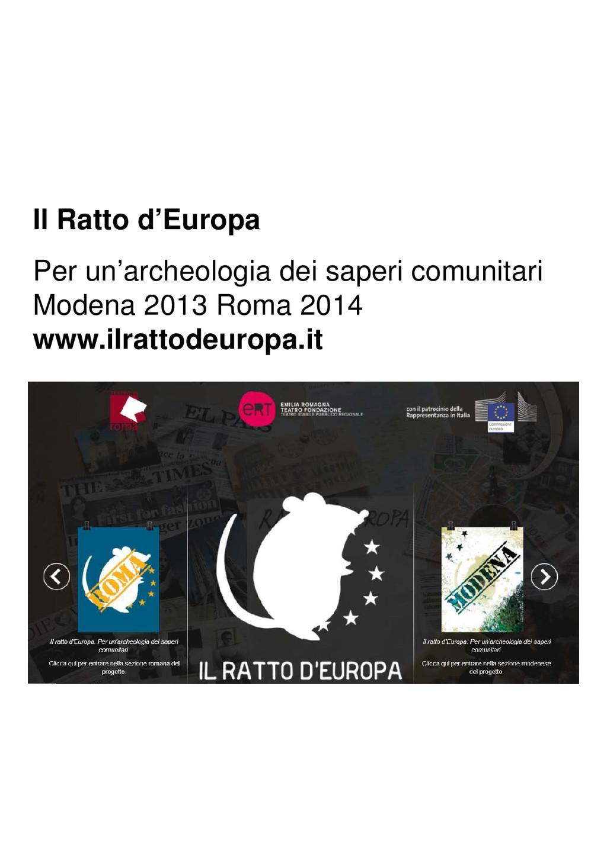 Il Ratto d'Europa Per un'archeologia dei saperi...